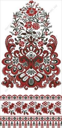 """Схема весільного рушника """"Квітка роду"""". Червоне і чорне"""